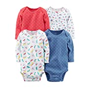 Carter's Baby Girls' Long Sleeve 4-Pk. Floral Bodysuit Set 12 Months