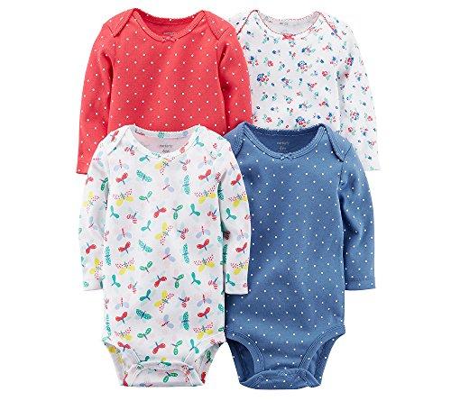 Carter's Baby Girls' Long Sleeve 4-Pk. Floral Bodysuit Set 3 Months