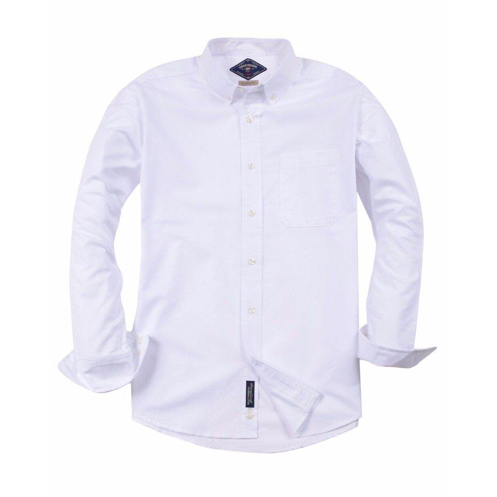 Bill's Khakis Men's Classic Oxford White Dress Shirt, White, X-Large