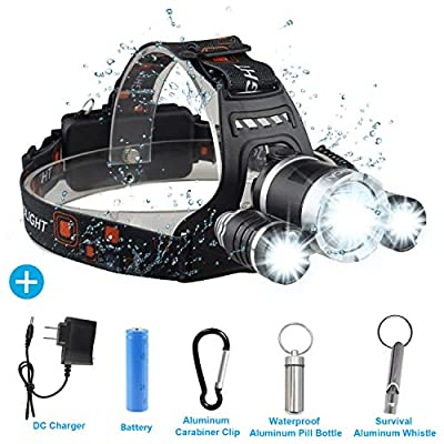 Brightest LED Headlamp Flashlight 6000 Lumen, BOSICAN CREE LED Rechargeable 18650 Battery 4 Modes, Headlight Waterproof Hands-free Hard Hat Light Super Bright Head Lamp Torch for Hunting Camping