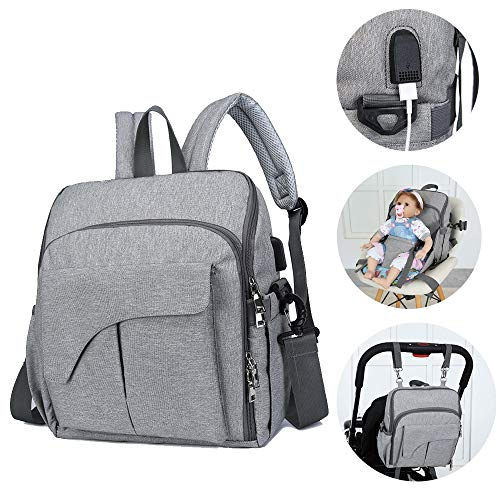 Multi-Function Diaper Bag Backpack Baby Nappy Changing Pad Seat Travel Nurse Bags with USB Charging Port Stroller Straps ()