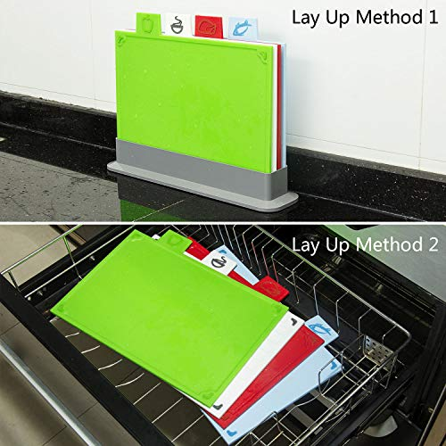 Cutting Board Set, Non-slip Chopping Board with Stand, BPA Free, FDA Approved Reversible Chef Cutting Boards, Color Coded Chopping Board Set, Easy-access Draining Rack for Kitchen by LinLins (Image #5)