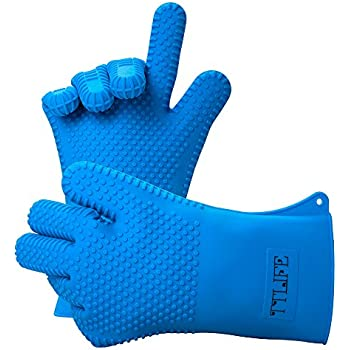 """TTLIFE XL 13.5"""" Long Silicone Heat Resistant BBQ Grill Oven Gloves for Cooking, Baking, Smoking & Potholder - 1 Pair - FDA Approved (Blue) - For Extra Forearm Protection"""