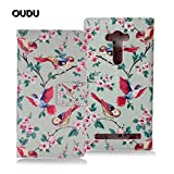 OuDu Flip Wallet Case for Asus Zenfone 2 Laser ZE550KL (5.5-inch) PU Leather Cover Slim Soft Skin Thin Shell Flexible Bumper - Colorful Magpies (Gift:1 Screen Protector)