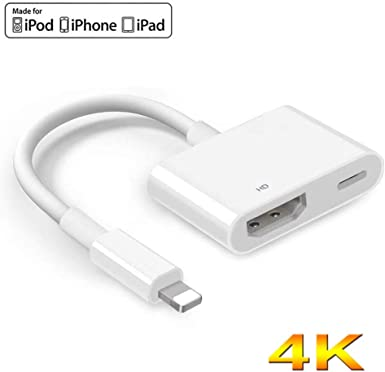 Adaptador Lightning a HDMI (Certificado Apple MFi), 1080P, Adaptador de Audio Digital con Puerto de Carga