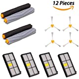 BESKIT 12PCS Replacement Kits for Roomba 870 880 980 - 2 Set Tangle-Free Debris Extractor, 4 Hepa Filters & 4 Side Brushes iRobot Roomba 800 & 900 Series Replacement Parts Accessories