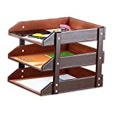 YAPISHI PU Leather 3 Tiers Slots Stackable Office File Document Tray Case Rack Desk File Document Organizer Holder (Brown)