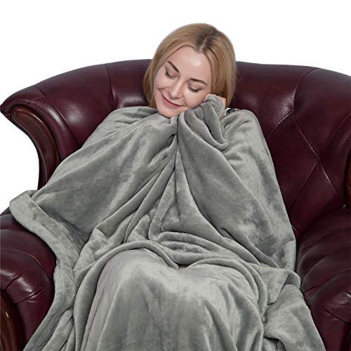 Flannel Fleece Blanket Solid Velvet Plush Throw for Bed Couch Sofa