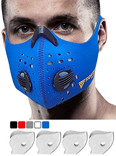 Fightech Dust Mask | Respirator Mouth Mask with 4 Carbon N99 Filters for Pollution Pollen Allergy Woodworking Mowing Running | Washable and Reusable Neoprene Half Face Mask for Dust and Outdoor (BLU)