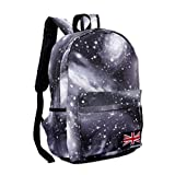 Aza Boutique Unisex Galaxy Print Nylon Backpack / Laptop Bag with Union Jack