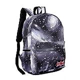 Aza Boutique Unisex Galaxy Print Nylon Backpack / Laptop Bag with Union Jack
