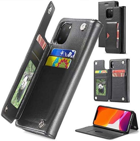 iphone11 pro max ケース 手帳型 上質PUレザー カード6枚まで収納可能 スタンド機能 定期券収納 カード収納 オシャレ 大人 (iPhone 11 Pro Max, ブラック)