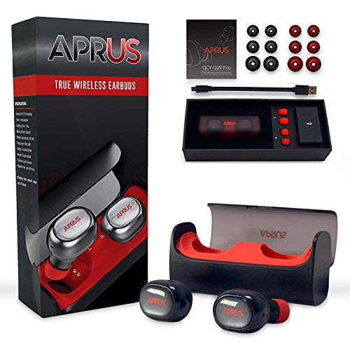 True Wireless Earbuds Bluetooth 4.2 with Mic - Noise Cancelling Sports Headphones for Running with Microphone & Quick Charging Case - Portable & Sweatproof with Stereo & Mono modes by APRUS