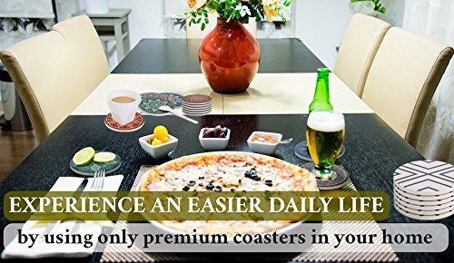 ENKORE Absorbent Coasters For Drinks - 6 Pretty Mandala Patterns on Big Ceramic Stones with Cork Back, Use as Elegant Home Decor and Save Your Furniture From Damage By Water Stain And Marks, No Holder by Enkore (Image #5)