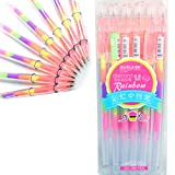 JX Rainbow Color Gel Ink Pen,A Pen Contains 6 Colors,Pastel Colors,Diamond Tip,Pack of 12 Pcs