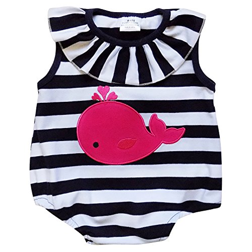 So Sydney Girls Toddler Baby Infant Summer Dress or Ruffle Baby Bubble Romper (M (6-12 Months), Whale Stripe Romper)