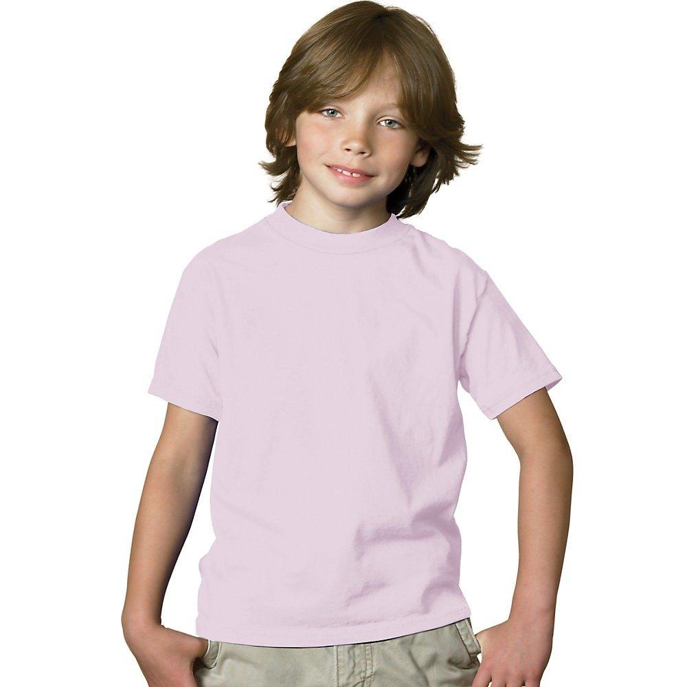 Hanes Boys' TAGLESS®, ComfortSoft®, Crewneck T-Shirt,Large, Pale Pink by Hanes (Image #1)