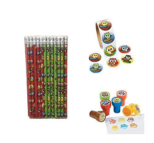 248 PC Owl Birthday Party Favor 24 Owl Pencils /& 24 Owl Stampers 200 Owl Stickers