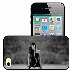 Personalized iPhone 4 4S Cell phone Case/Cover Skin Brunette Dress Nature Mood Sadness On Their Knees Black And White Black