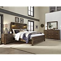 Roundhill Furniture B290QDMN2C Dajono Rustic 6-Piece Bedroom Set-Queen Size