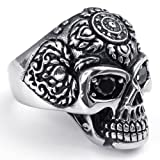 kalendone Retro Acero inoxidable Punk Cráneo de los hombres Anillo, Color Plata Negro Tamaño US 11, anillo de acero inoxidable