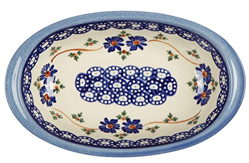 Polish Pottery Blue Chain Floral Small Oval Vegetable Bowl, 8