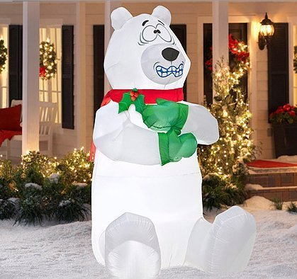 5 tall airblown shivering polar bear christmas inflatable garden outdoor decoration - Outdoor Polar Bear Christmas Decorations