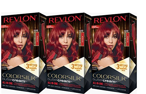 (Revlon Colorsilk Buttercream Hair Dye, Vivid Intense Red, 3 Count)