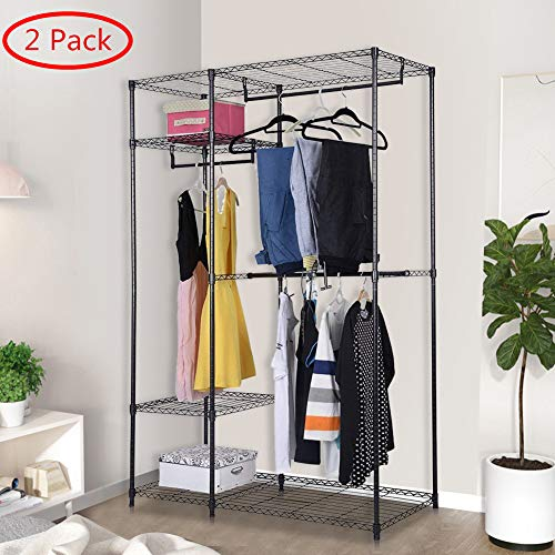 S AFSTAR Safstar Heavy Duty Clothing Garment Rack Wire Shelving Closet Clothes Stand Rack Double Rod Wardrobe Metal Storage Rack Freestanding Cloth Armoire Organizer (2 Packs)