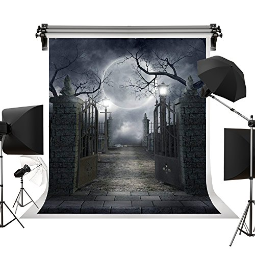 Kate 5x7ft/1.5x2.2m(W:1.5m H:2.2m) Night Horror Background Day of The Dead Decorations Dackdrop Moon Brick Floor Iron Gate Halloween Fairy Backgrounds ()