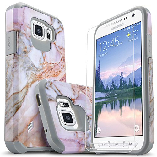 Galaxy S6 Active Case, Starshop [Shock Absorption] Dual Layers Impact Advanced Protective Cover With [Premium HD Screen Protector Included] (Marble Pattern)