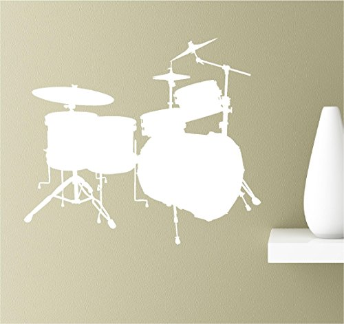 Drum Set silhouette musical instrument rock and roll inspirational wall quotes sayings vinyl decals art -