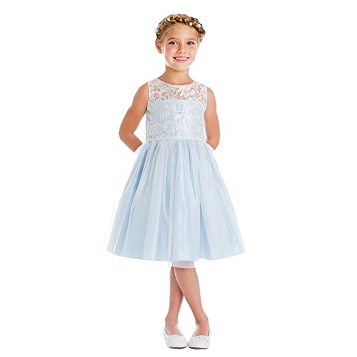 1d12d346dc4 Sweet Kids Little Girls Blue Embroidered Mesh Pearl Trim Party Easter Dress  4