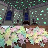 SOURBAN 100pcs Wall Glow In The Dark Star Stickers Decal In Kids Room