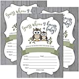 25 Cute Rustic Owl Woodland Forest Baby Shower Invitations...