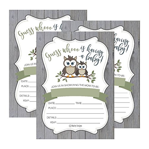 (25 Cute Rustic Owl Woodland Forest Baby Shower Invitations, Printed Fill in The Blank Invites for Girls Boys Gender Neutral Grey Unique Vintage Coed Nature Wood Themed Party Card Stock)