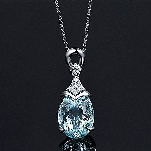 Gemstone Medallion Necklace - Fashion Gemstone Women Silver Natural Pendant Aquamarine Jewelry Necklace