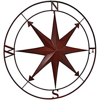 Zeckos Compass Rose Lightly Distressed Metal Wall Hanging Metal Wall Sculptures Red  sc 1 st  Amazon.com & Amazon.com: Silver and Copper Compass Wall Décor: Home u0026 Kitchen