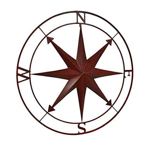 Zeckos Compass Rose Lightly Distressed Metal Wall Hanging Metal Wall Sculptures Red