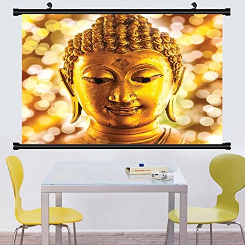 Gzhihine Wall Scroll Old Temple Decor Collection Gold Statue Picture and Asian Oriental Peace Religious Picture Accessories Wall Hanging Gold Yellow - Temples Anatomy