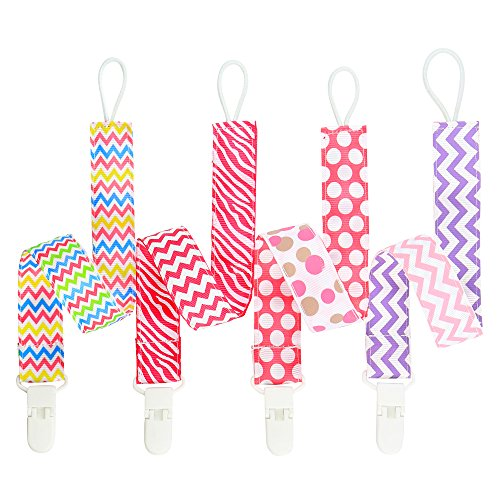 [Baby Pacifier Clips (4 Pack) - Bundle Tumble Premium Quality Universal Pacifier Clip for Girls - Great Pacifier / Teething Ring Holder - Extra Safe, Fun, Cute - Unique Baby Shower] (Book Week Costumes For Sale)