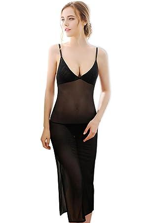 ligas atractivas de la ropa interior pijamas chándal verano femenino larga sección de control de encaje