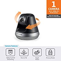Samsung Wisenet SmartCam Pan/Tilt Full HD 1080p Wi-Fi IP Camera, Black (Refurbished)
