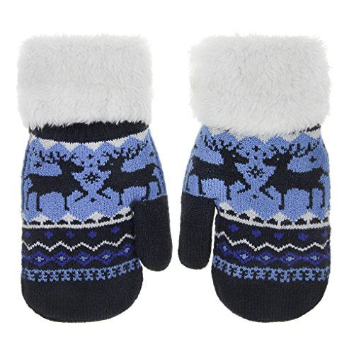 Toddler Kids Winter Warm Thick Full Finger Gloves Children Assorted Color Magic Ski Gloves Mittens (Navy Reindeer, For 5-12 years)