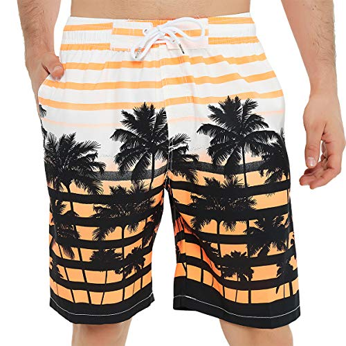 Kailua Surf Mens Swim Trunks Long, Quick Dry Mens Boardshorts, 9 Inches Inseam Mens Bathing Suits with Mesh Lining (3X, Orange Palm Trees)