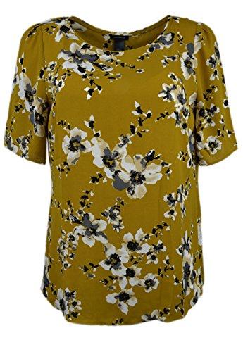 ann-taylor-womens-short-sleeve-split-back-floral-chiffon-blouse-mustard-small