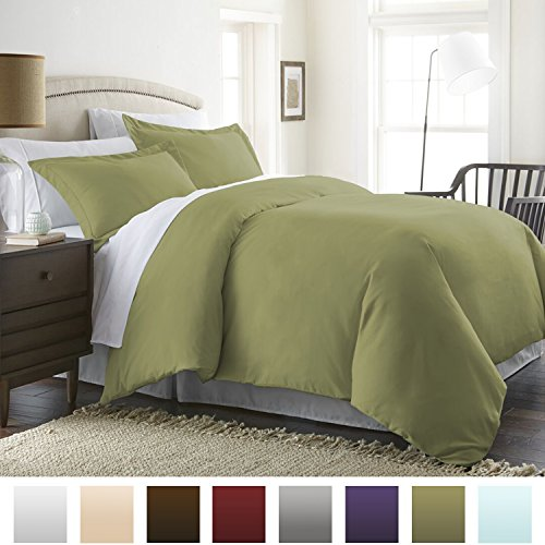 Beckham Hotel Collection Luxury Soft Brushed 1800 Series Microfiber Duvet Cover Set with Zipper Closure - Hypoallergenic -  King/Cal King, Olive