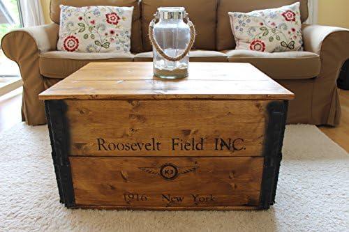 2020 Nieuw Uncle Joe 4800s kist houten kist Roosevelt Field, 80 x 55 x 44 cm, hout, lichtbruin, vintage, shabby chic salontafel, bruin, 80x55x44 cm  3lwglAL