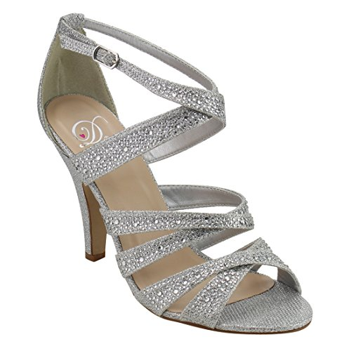 Mini Strappy Sandals (Delicious Women's peep toe rhinestone glitter crossing strap dance sandals MVE Shoes mve shoes anika silver size 7)