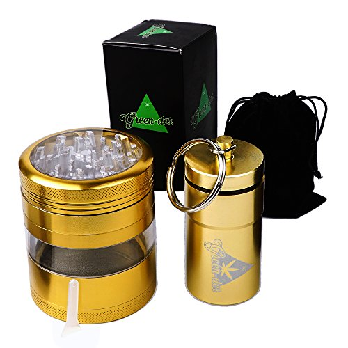 Weed Grinder and Airtight Container: 4pc large Tobacco and Herbs Metal Crusher with Pollen Catcher and Smell Proof Canister, Gold by (Fancy Double Heart)